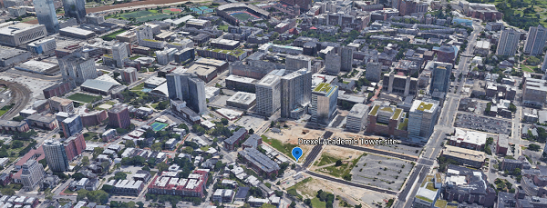 Google Earth screenshot of the location of the Drexel Academic Tower