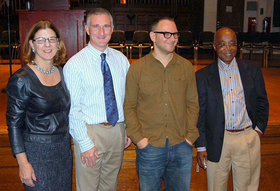 Dean Donna Murasko, Dr. Scott Warnock, Cory Doctorow, and Dr. Abioseh Porter