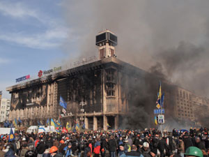 Remains of the Euromaidan Headquarters at the Trade Unions Building on Feb. 19, 2014