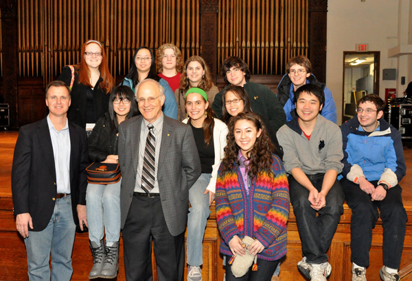 Dr. Gross with Conestoga High School Students