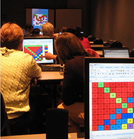 Teachers learning computer math software