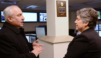 Janet Napolitano Tours Drexel's Communication Center
