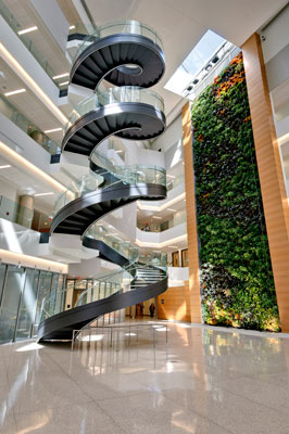 Biowall and staircase in the Papadakis Integrated Sciences Building