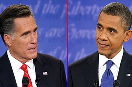Mitt Romney and President Obama at the first Presidential Debate