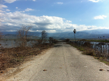 Former farmland flooded by Lake Azuei in Haiti