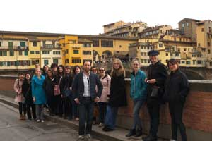 Students in front of the Ponte Vecchio in Florence, Italy