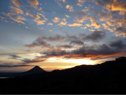 Sunrise over the active Volcano Arenal, seen from San Gerardo field research station