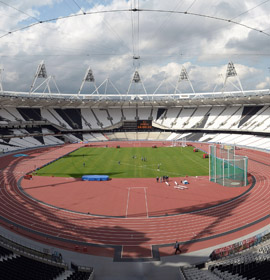 View of the inside of the Olympic Stadium in London