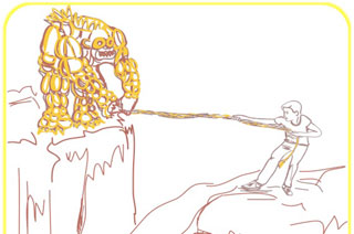Illustration of person and monster trying to pull each other into a ravine with a rope