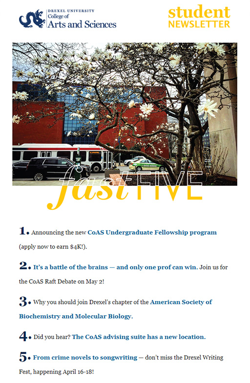 Drexel University's College of Arts and Sciences Newsletter - April 2019