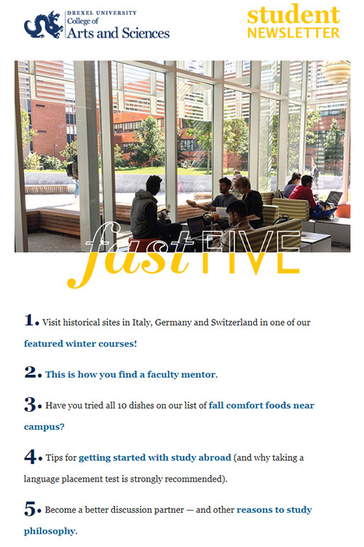 Drexel University's College of Arts and Sciences Newsletter - October 2018