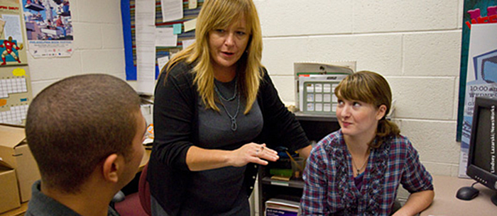 Drexel Faculty Kathy Volk Miller with students