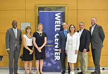 Drexel Provost Brian Blake, Assistant Professor Adrienne Juarascio, Professor Meghan Butryn, WELL Center director Evan Forman, Dean of the College of Arts and Sciences Donna Murasko, Associate Dean Rob D'Ovidio and Vice Provost for Research Aleister Saunders at the WELL Center Launch