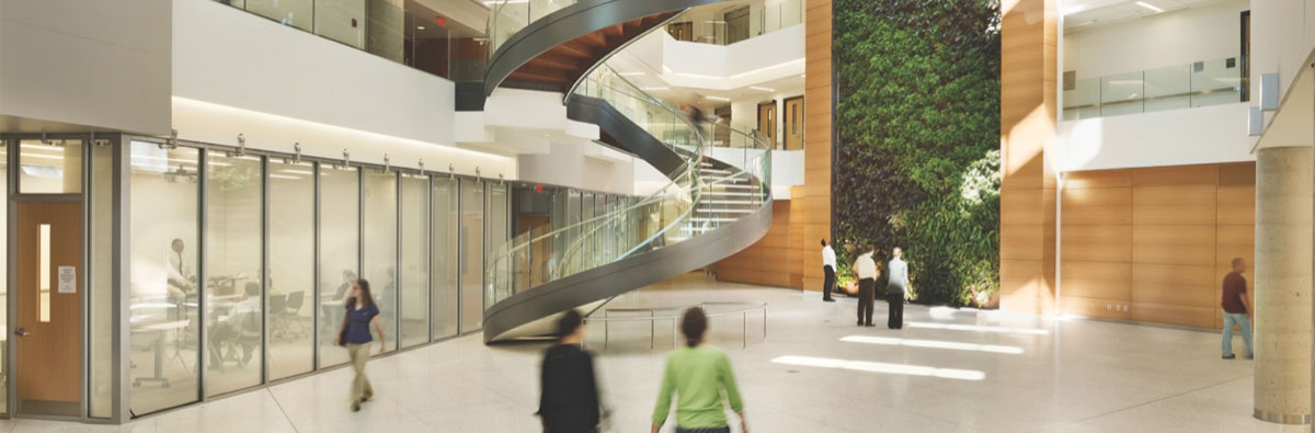 The Biowall and staircase in the Papadakis Integrate Science Building wth people