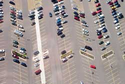 Arial view of cars in a parking lot