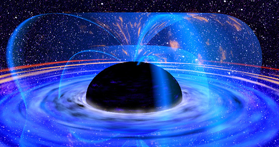 NASA illustration of a black hole and the matter it pulls in