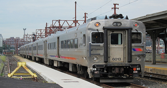 A New Jersey Transit commuter train parked at Hoboken Terminal. (Michael Hicks / flickr)