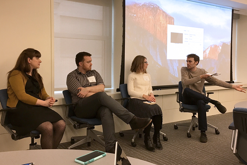 Allison Brown (Penn State), Luke Stark (Dartmouth), Sarah Tracy (UCLA), Alexios Tsigkas (New School) field questions at the Stop Making Sense Symposium.