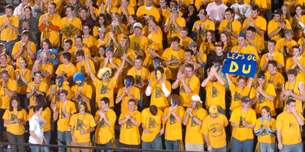 Crowd of Drexel students at a Drexel Athletic Event