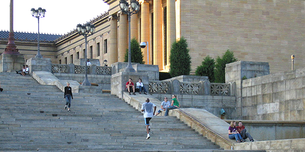 The stairs at the entrance of the Philadelphia Museum of Art