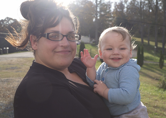 Ashley Ramey with her son