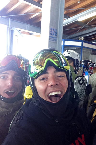Cutler Whitely and friends while snowboarding