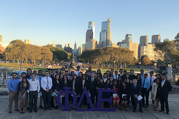 Whitley with the Drexel chapter of Phi Delta Epsilon International Medical Fraternity