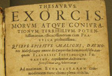Title page of a 1626 edition of the Thesaurus exorcismorum. Saint Louis University Libraries Special Collections.
