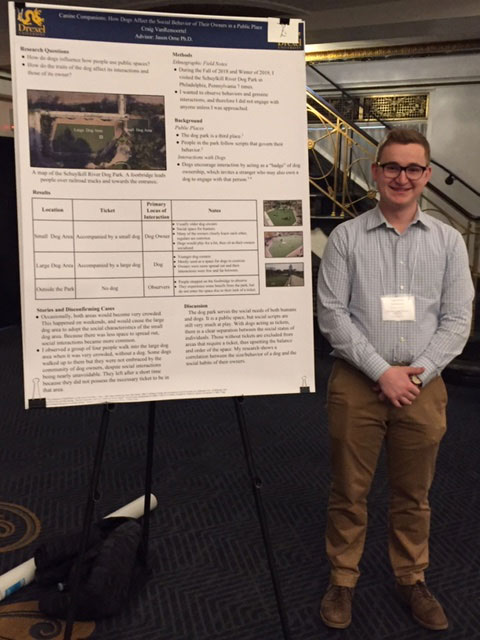 Drexel undergraduate Craig VanRemoortel presents sociological research on social interaction in Philadelphia dog parks.