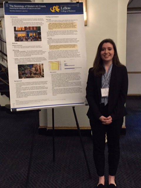 Drexel undergraduate Nina Olney presents sociological research on art walks in cities.