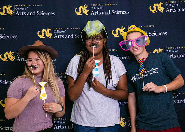 Drexel CoAS Students Having Fun in Photo Booth