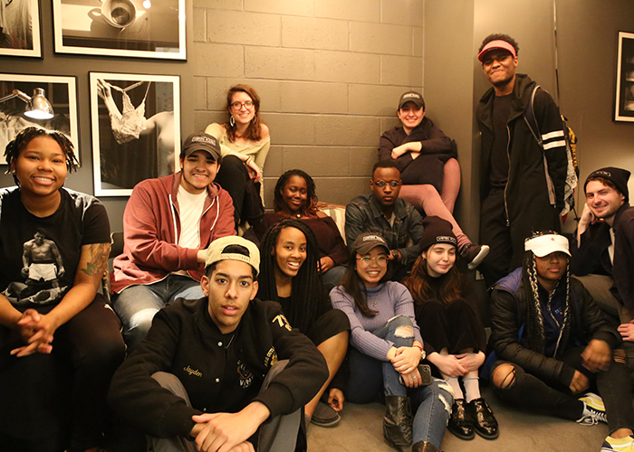 Writers Room students — from Drexel, YouthBuild Philadelphia and Paul Robeson High School — at the studio in MacAlister. Photo by Rachel Wenrick.
