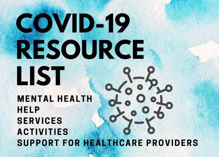 Graphic: Covid-19 Resource List by clinical psychology PhD student Kelsey Clark