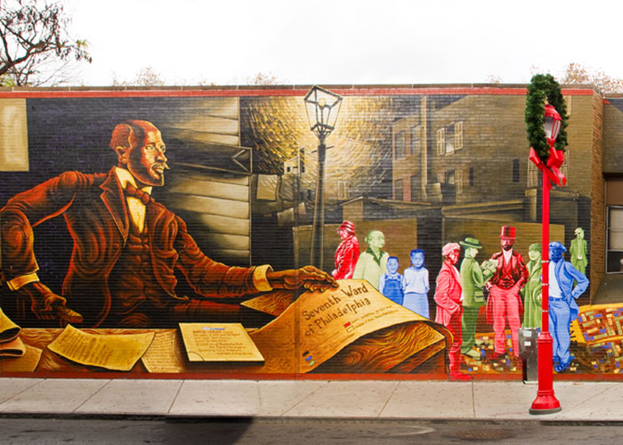"Mapping Courage: Honoring W.E.B. Du Bois & Engine #11,"" a mural by Willis Humphrey, Philadelphia. Photo by Eric Anestad."