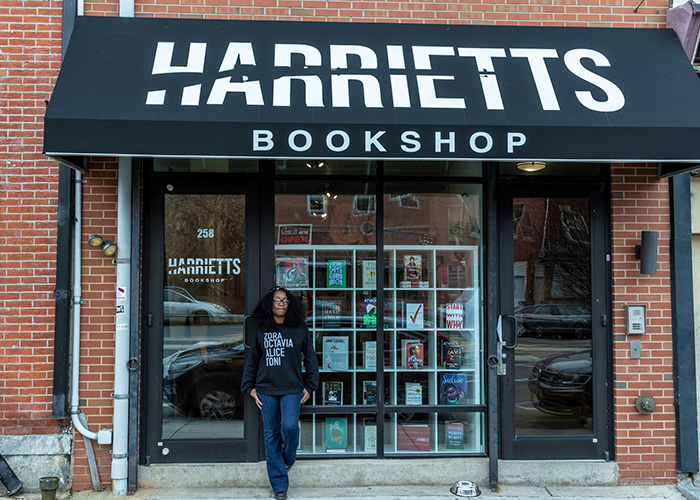 Storefront of Harriet's Bookshop located in Philadelphia's Fishtown neighborhood
