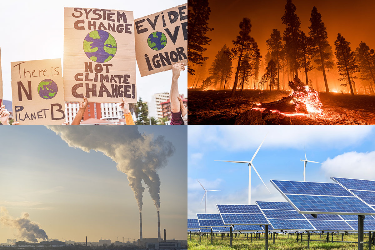 a grid of photos showing environmental justice protesters, a forest fire, industrial pollution, and solar panels and wind turbines