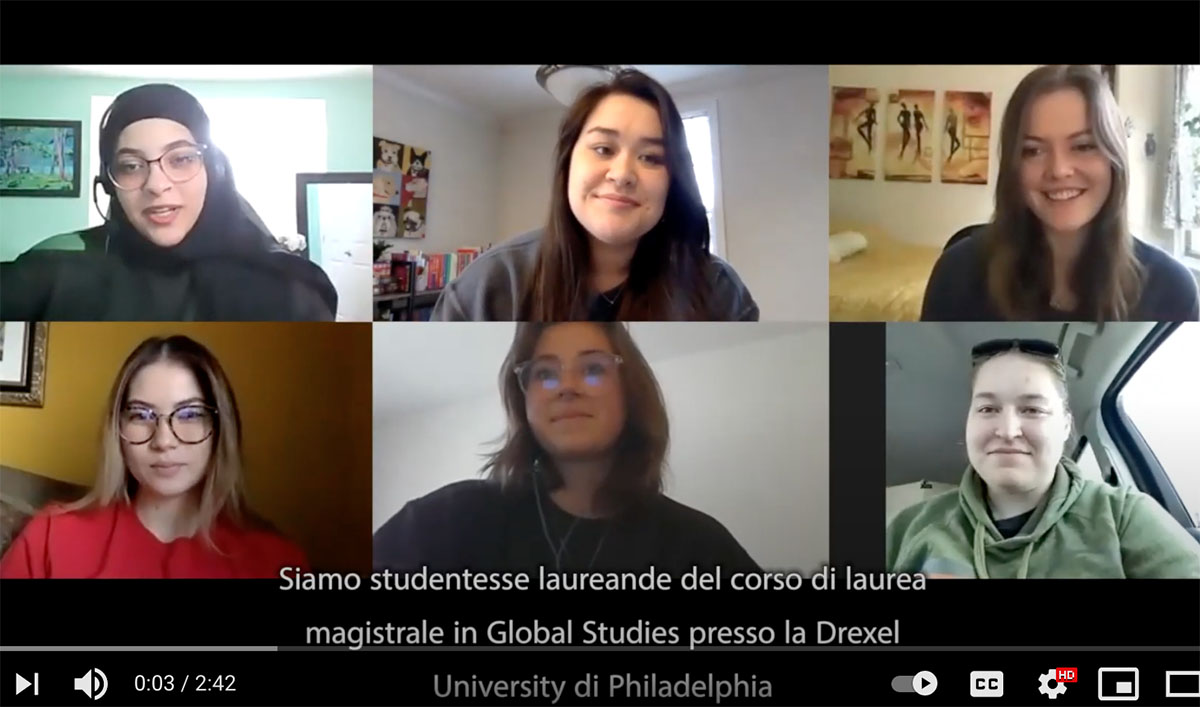 A screenshot of six students on Zoom
