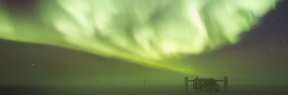 Aurora over Ice Cube Project in Antartica