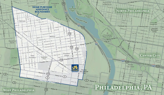 Map of Drexel's Home Purchase Assitance Boundaries
