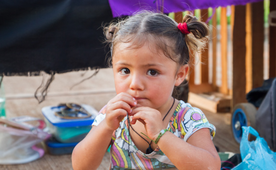 Argentine girl looking at camera