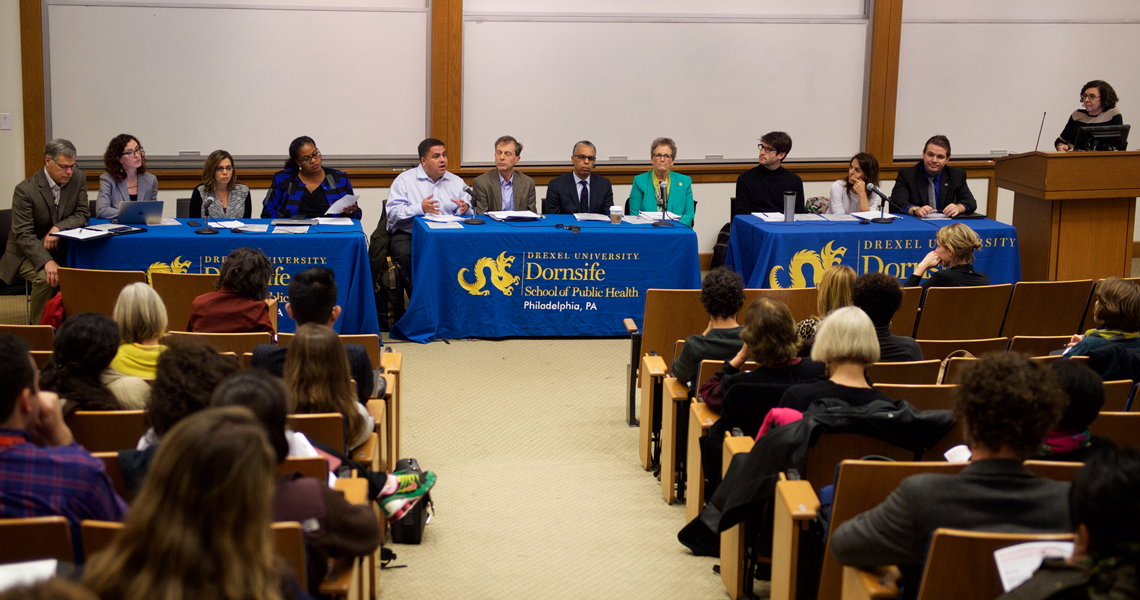 A panel of Dornsife School of Public Health faculty and staff gather at Drexel to discuss implications of the 2016 presidential election on public health.