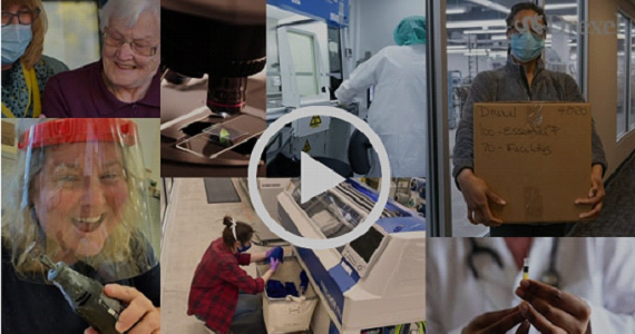 Collage of researchers working on Drexel's Rapid Response Research & Development Fund projects