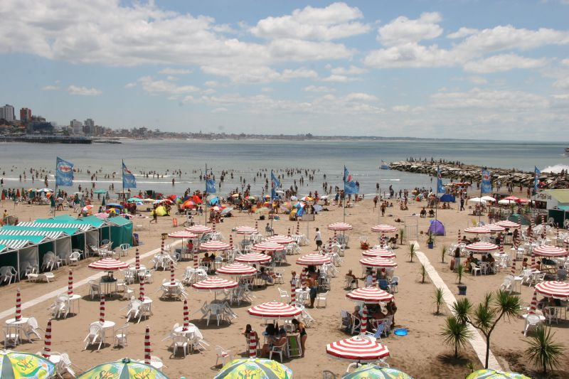 Sunny beach with lots of people in Argentina