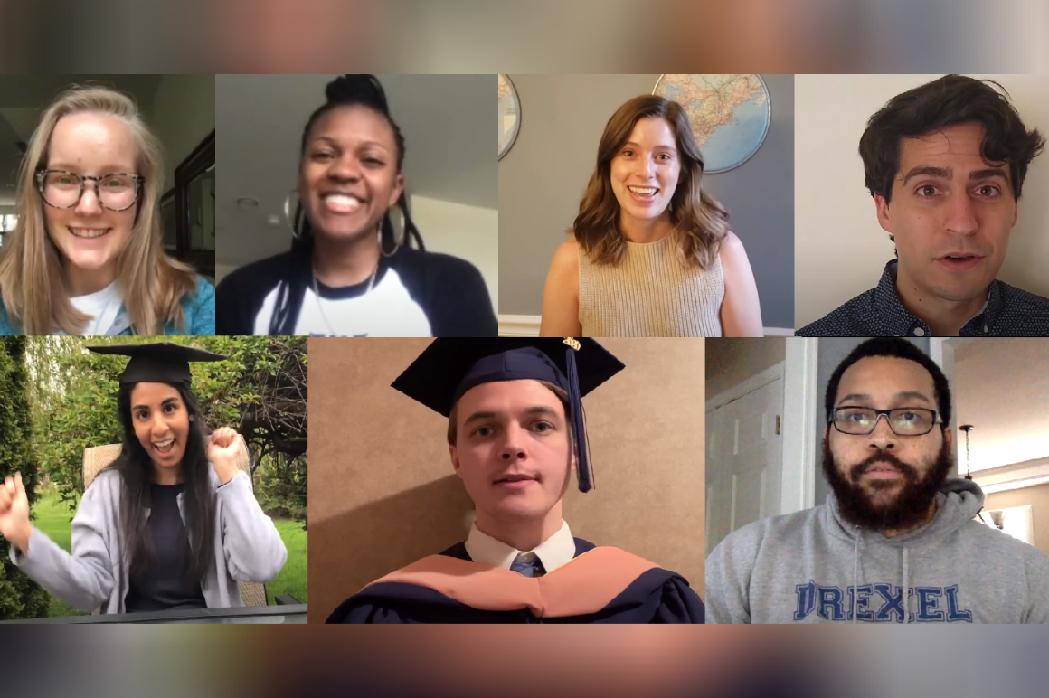 Students and alum sending well wishes in graduation video by Dornsife