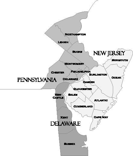 Delaware Valley regional map.