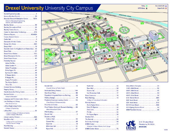 Drexel Campus Map Facilities | English Language Center | Drexel University