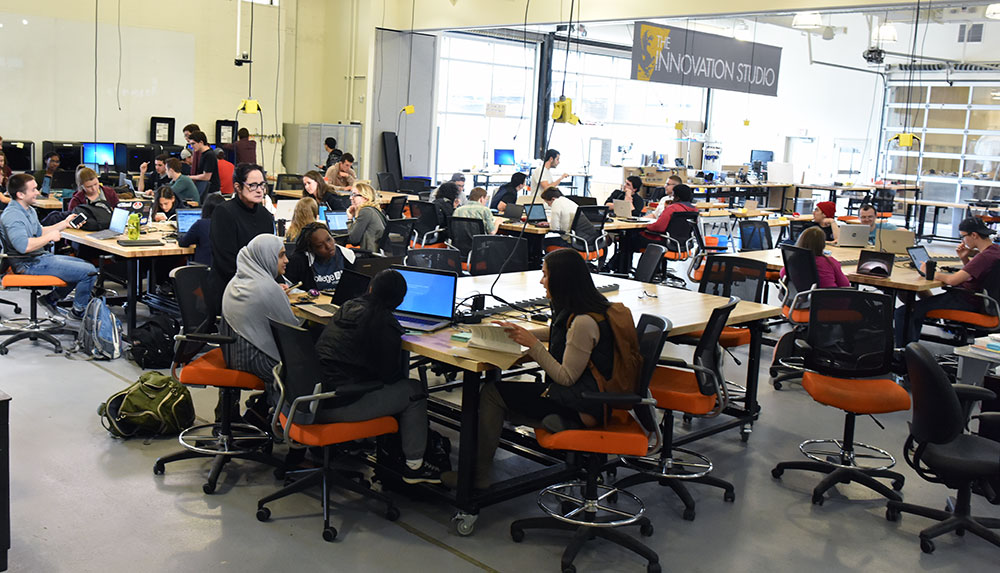 Students at work in the Innovation Studio