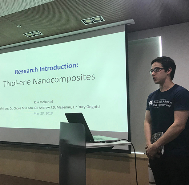 "As a Drexel Materials pre-junior, Riki McDaniel went on co-op abroad in South Korea researching polymer-MXene composites. ""I only learned about Materials during my first week in school. Two months later, I was a member of a polymers lab, working shoulder-to-shoulder with PhD students as I learned how to set up reactions."""