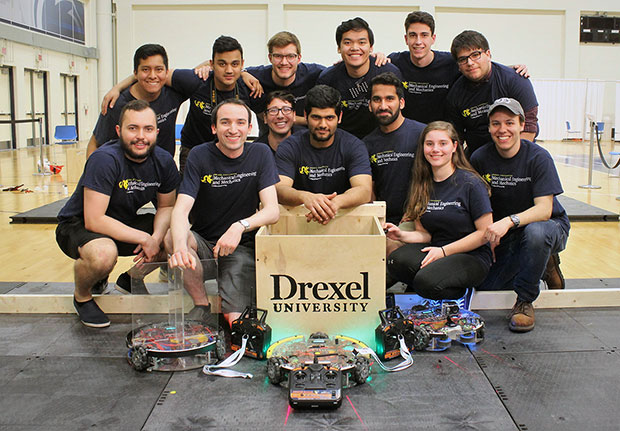 Members of the Drexel robotics team placed third at a student design competition sponsored by the American Society of Mechanical Engineers (ASME).