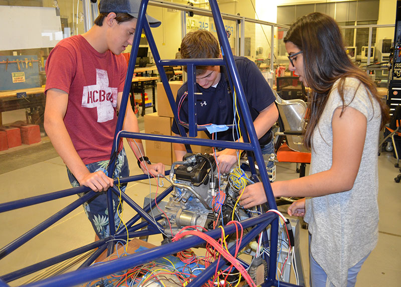 Mechanical engineering students are building a formula-style racecar from scratch to compete against teams from around the world.